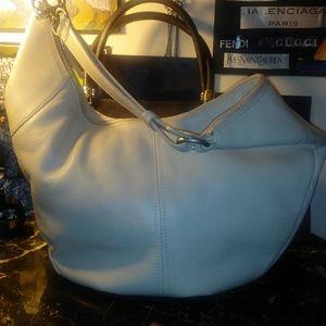 DEREK ALEXANDER off-white leather hobo bag